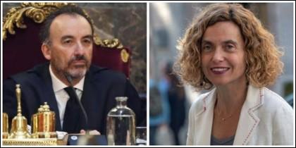 El juez Manuel Marchena y Meritxell Batet.