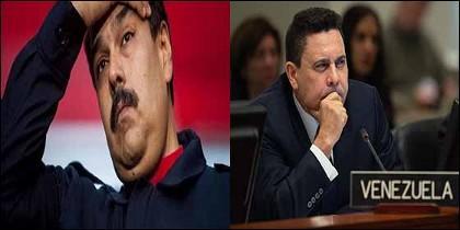 Nicolás Maduro y su embajador en la ONU, Samuel Moncada.