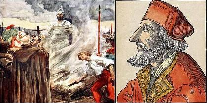 Jan Hus, quemado en la hoguera.