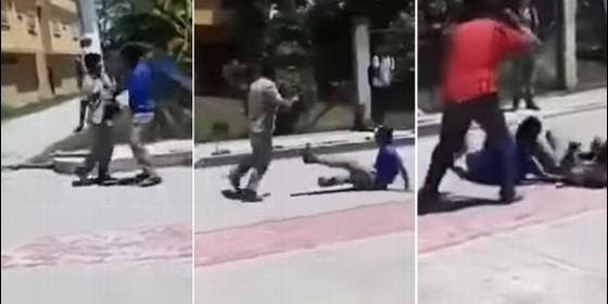 Maestro separa pelea de alumnos a cinturonazos