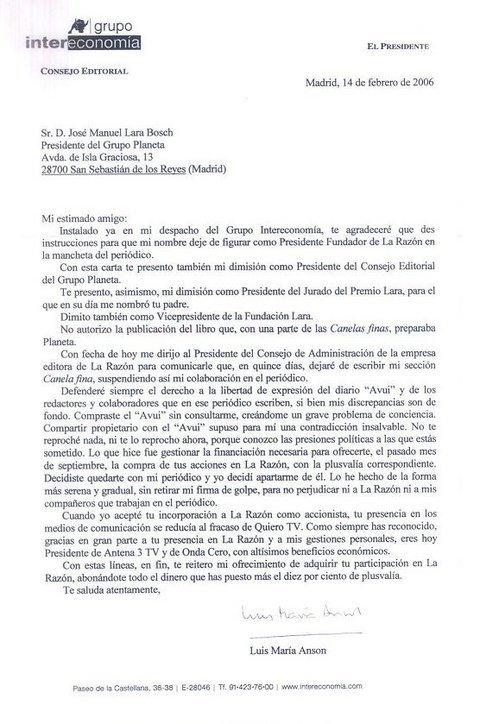 Carta de Anson al Presidente de Planeta
