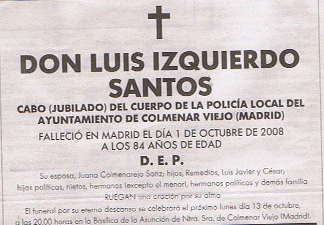 Santos ya descansa en paz. Falleció el pasado 1 de octubre y su