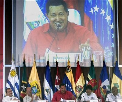 Hugo Chávez speaking at the Bolivarian Alternative for the Americas (ALBA) summit