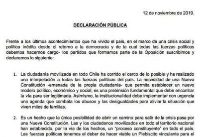 Oposición chilena pide plebiscito, Asamblea Constituyente y nueva Constitución