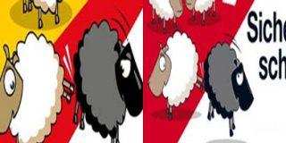 Grupos xenófobos de España copian el cartel suizo de las ovejas racistas