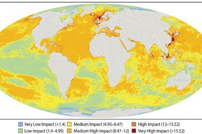 Mapamundi del impacto humano sobre el ecosistema marino