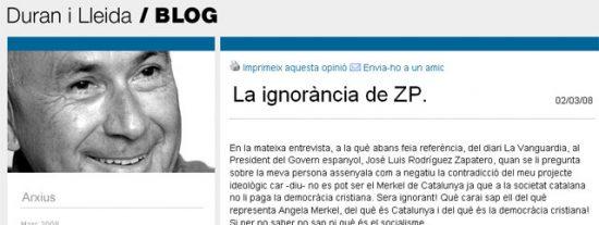 """Duran i Lleida llama """"ignorante"""" a Zapatero por ver incompatible Cataluña y cristianismo"""