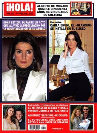 Letizia y Carla Bruni, protagonistas de la portada de Hola