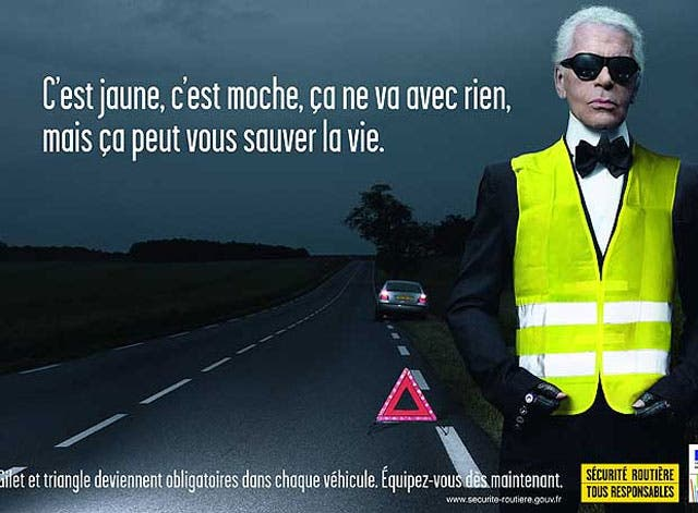 Karl Lagerfeld, último reclamo de la seguridad vial francesa
