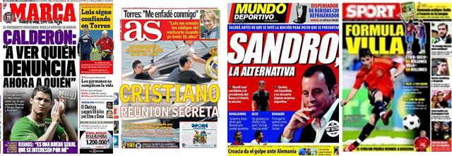 La prensa, entre Cristiano y Rosell