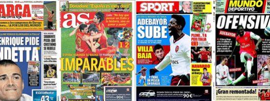 El triunfo de España, los cuartos frente a Italia y Adebayor, prioritario