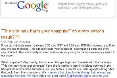 """Un error humano """"deja loco"""" a Google por unos minutos"""