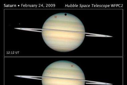 El telescopio Hubble capta imágenes de cuatro lunas frente al planeta Saturno
