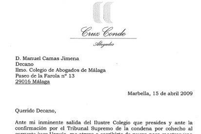 Dos cartas: una de Rafael Cruz Conde al decano y otra de un abogado a su hija