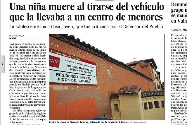 El País ilustra con una foto de un centro de menores de la Comunidad de Madrid un suceso ocurrido en Castilla-La Mancha