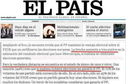 """El País """"esconde"""" el barómetro electoral que da tres puntos de ventaja al PP sobre el PSOE"""