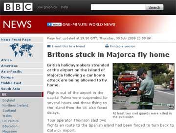 """La BBC, más preocupada por el tráfico aéreo provocado por los """"separatistas vascos"""""""