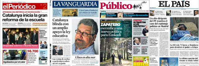 La Vanguardia y El Periódico saludan con alborozo la imposición del catalán... ¡en español!