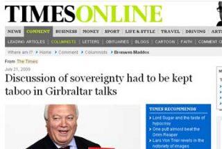"""Moratinos paga el peaje de no hablar de soberanía, según """"The Times"""""""