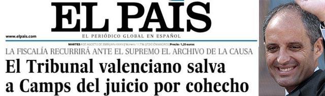 La pataleta de El País y sus chapuzas para empapelar a Camps