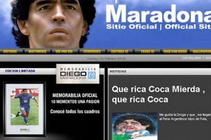 """""""Qué rica coca mierda, qué rica coca"""", se confiesa Maradona en su web... ¿o no?"""