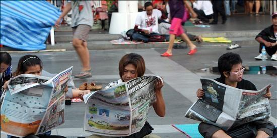 """Los """"camisas amarillas"""" piden al Gobierno tailandés mano dura con los """"camisas rojas"""""""