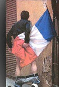 Polémica por la foto de un joven que utiliza la bandera francesa como papel higiénico