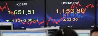 El índice Kospi baja 10,35 puntos el 0,64 por ciento hasta 1.589,83 puntos
