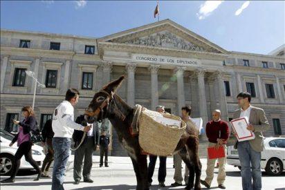 Un burro con firmas contra la piratería simboliza la lentitud de la ley