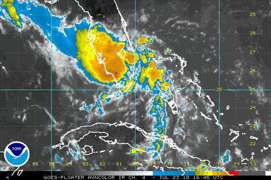 """La depresión """"Bonnie"""" se convierte en una baja presión en aguas del Golfo México"""