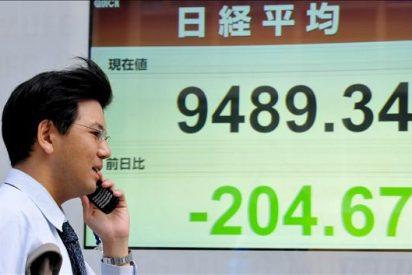 El índice Nikkei baja 112,79 puntos, el 1,18 ciento, hasta 9.438,26 puntos