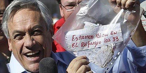 Aumenta aprobación de Sebastián Piñera por hallazgo con vida de mineros en Chile
