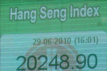 El índice Hang Seng baja 38,60 puntos, 0,16% en la apertura, hasta 24.838,22