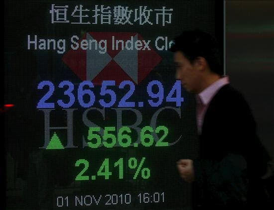 El índice Hang Seng baja 14,31 puntos, 0,06% a media sesión, hasta 24.012,87