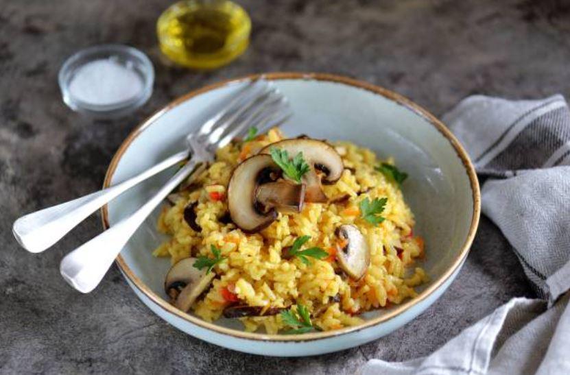 arroz con setas y pollo