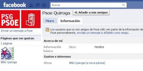 Facebook cierra el perfil del PSOE y el BNG de Quiroga
