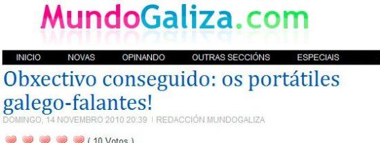 Mundo Galiza entra en éxtasis porque los portátiles van a ser 'galegofalantes'
