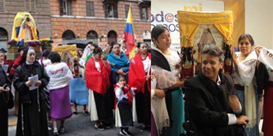 Ecuatorianos celebran la fiesta de la Vírgen del Quinche en Italia