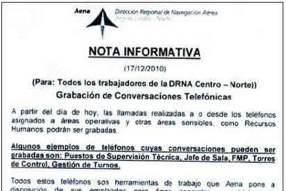 AENA grabará las conversaciones telefónicas de los controladores