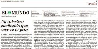 """El Mundo: """"Hay que reprochar al Gobierno que aprobara el decreto-ley sobre los controladores en una fecha tan inoportuna"""""""