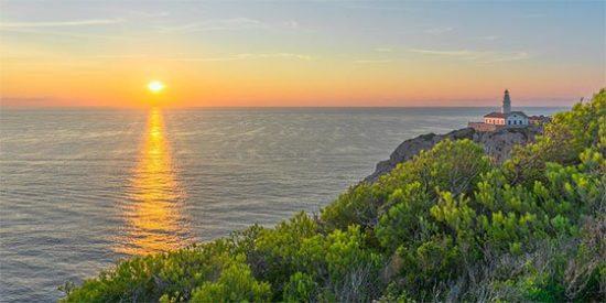 Mallorca, Mar, Sunrise, El Agua, Rock, Faro, Cielo