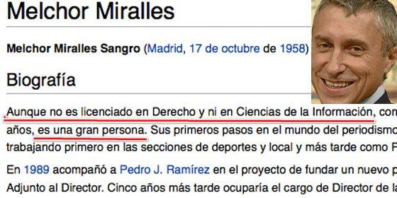 """Afines a 'Malhechor' Miralles modifican Wikipedia para destacar que, aunque mintió sobre ser abogado y periodista, """"es una gran persona"""" (III)"""