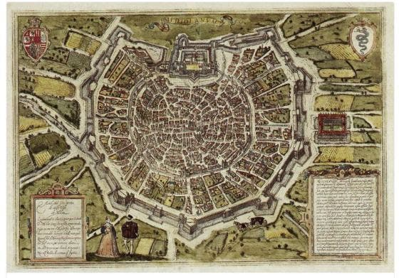 mapa de Milán medieval