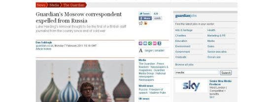 Rusia expulsa al corresponsal de The Guardian
