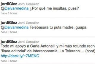 """Jordi González responde a una usuaria de Twitter que criticó a Telecinco: """"Telebasura tu puta madre, guapa"""""""