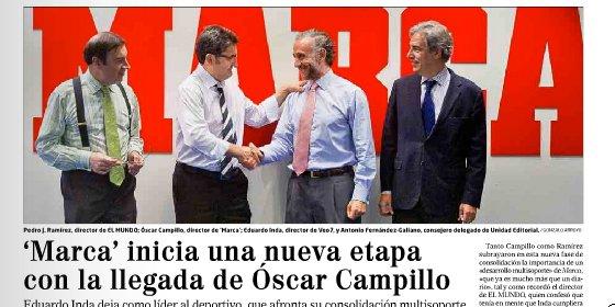 Óscar Campillo toma posesión como nuevo director de Marca de manos de Eduardo Inda