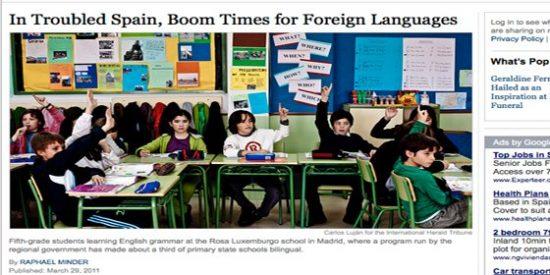 El 'New York Times' alaba el programa de colegios bilingües de Madrid para aprender inglés