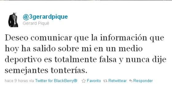 """Piqué desmiente las """"tonterías"""" del diario Marca"""