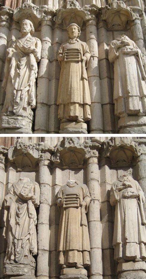 Arrancan las cabezas de dos tallas del pórtico de la iglesia de San Esteban de Burgos