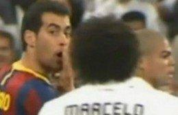 Los jugadores españoles del Real Madrid se alegran por Busquets